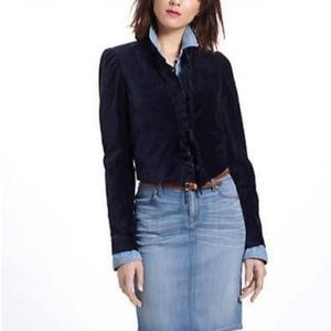 Anthropologie Navy Leifsdottir Maude Velvet Jacket